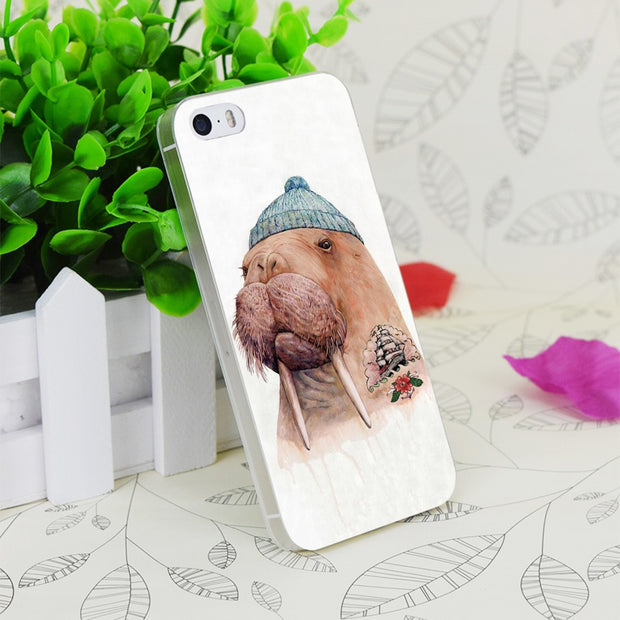 C1751 Tatooed Walrus Transparent Hard Thin Case Skin Cover For Apple IPhone 4 4S 4G 5 5G 5S SE 5C 6 6S Plus