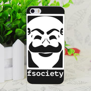 C3895 F-society Mr Robot Transparent Hard Thin Case Skin Cover For Apple IPhone 4 4S 4G 5 5G 5S SE 5C 6 6S Plus