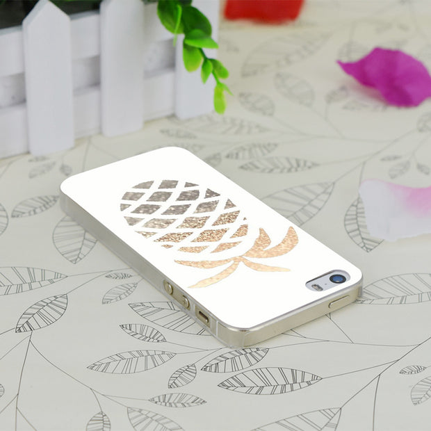 C4029 Gold Pineapple Transparent Hard Thin Case Skin Cover For Apple IPhone 4 4S 4G 5 5G 5S SE 5C 6 6S Plus