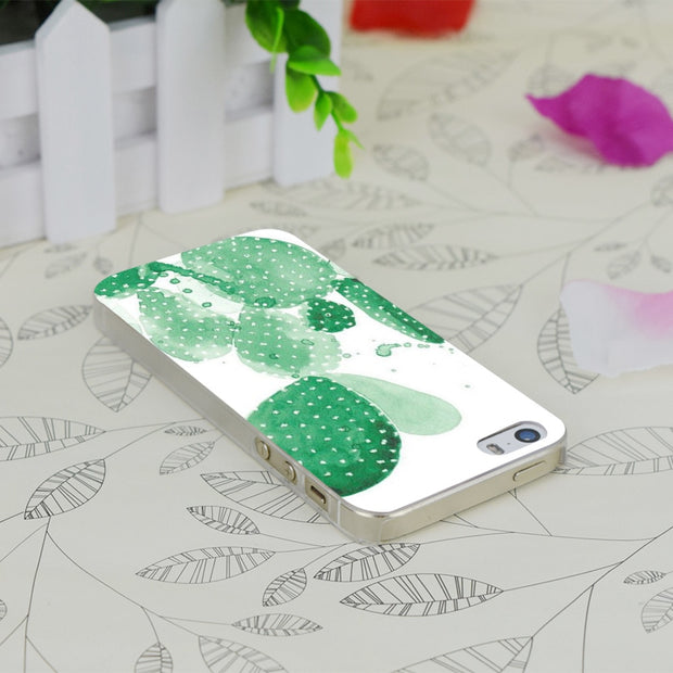 C4077 Green Paddle Cactus Transparent Hard Thin Case Skin Cover For Apple IPhone 4 4S 4G 5 5G 5S SE 5C 6 6S Plus