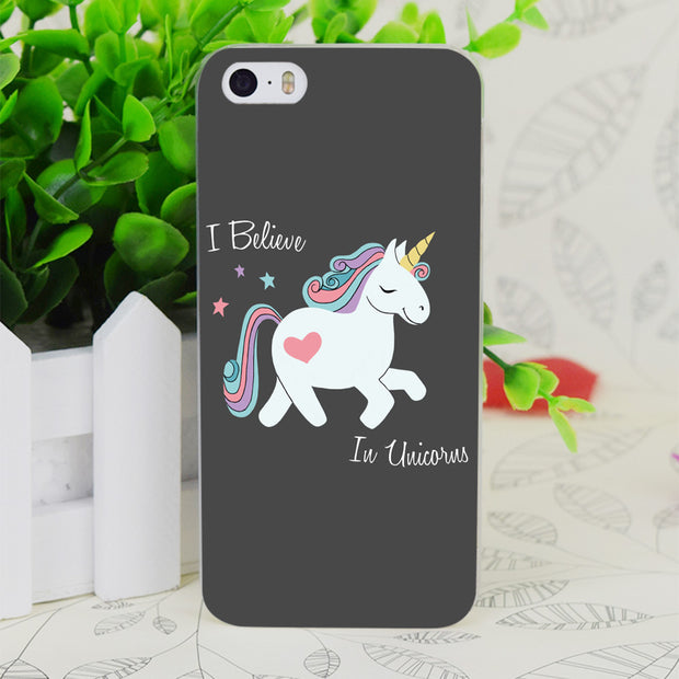 C4333 I Believe In Unicorns Transparent Hard Thin Case Skin Cover For Apple IPhone 4 4S 4G 5 5G 5S SE 5C 6 6S Plus