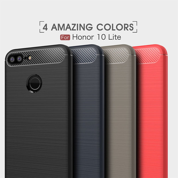 Carbon Fiber Phone Case For Huawei Honor 10 Lite TPU Soft Case Anti-knock For Huawei Honor 10 Lite Back Case 360 Full Protect
