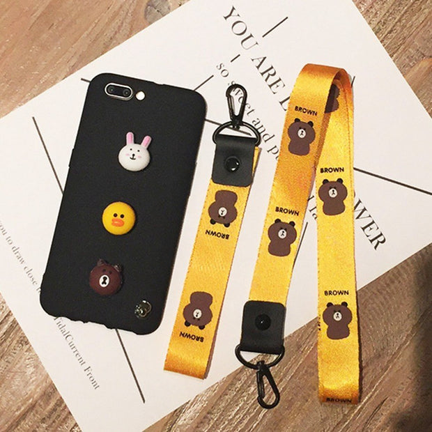 Cartoon Bear Brown Bunny Cony Case For MOTO G5S Plus X4 G6 Cute Lanyard Cover For MOTO G6 Plus Play Kawaii Soft TPU Phone Cases