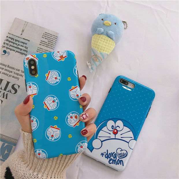 new product ed8ec e91b9 Cartoon Blue Fat Cat Phone Case For Iphone X XR XS MAX Case For Iphone X 6  7 8 Plus Back Cover Lovely Cases Funny Couples Coque