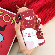 Cartoon Christmas Bear Phone Case For IPhone 6 6s 7 8 Plus Ultra-thin Soft TPU Phone Back Cover Fpr IPhone X Xs Xr XS Max Cases
