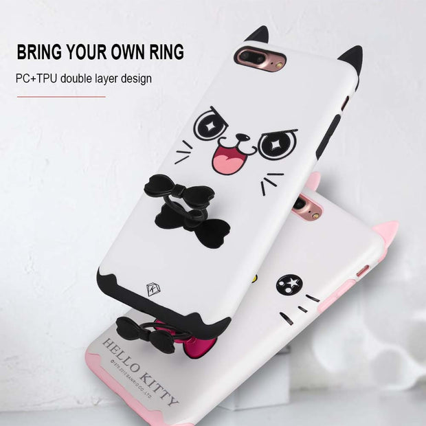 Cartoon Hello Kitty Case For IPhone X 7 8 6 6S Plus Soft Silicone Finger Ring Back Cover For IPhone 6 X 7 8 Plus Cute Phone Case