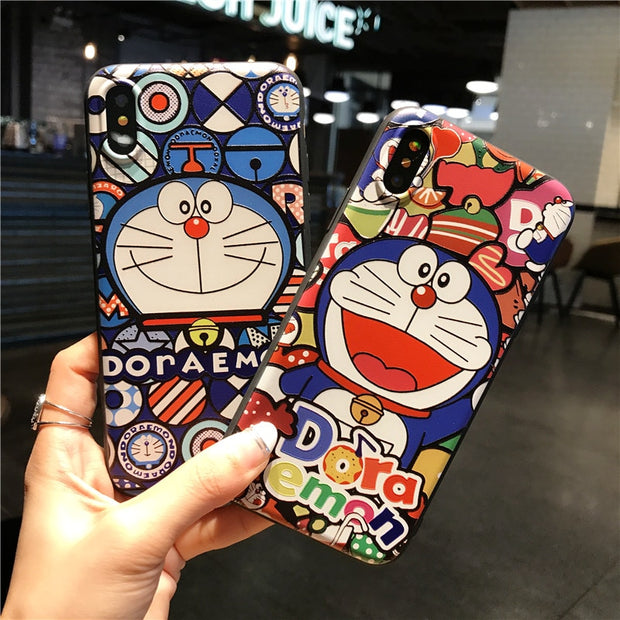 Cartoon Jingle Cat Phone Cases For IPhone 8 X 8Plus Case For IPhone8 Cute 3D Relief Doraemon Soft Silicone Full Protect Cover
