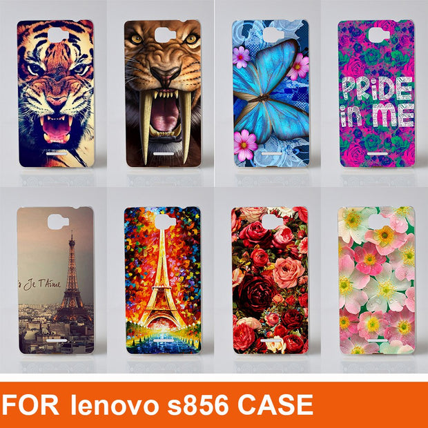 Cartoon Printing Animals Flowers And Eiffel Towers Design Pattern Hard Cover Case For Lenovo S856 Back Cover Case