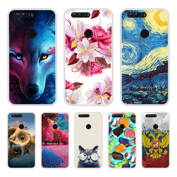 Case Cover For Huawei Honor 8 Soft Silicone TPU Cool Patterned Painting Coque For Huawei Honor 8 Phone Cases