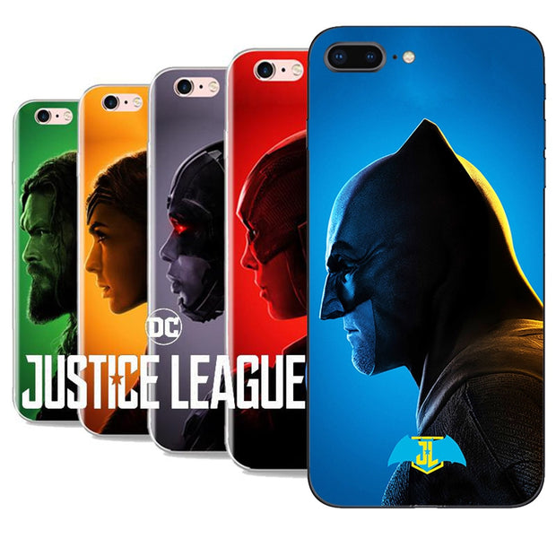Case For Apple IPhone 7 6S 8Plus 5S 5 Lovely Wonder Woman Black Series The Justice League Batman Iron Man Soft TPU Cases Cover
