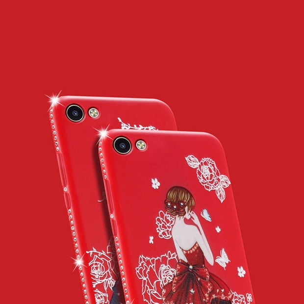 Case For Vivo X20 Plus Rhinestone Cover Ultra Slim IMD Glossy Girl Back Printed Case For Vivo X 20 Plus Phone Accessories Capa