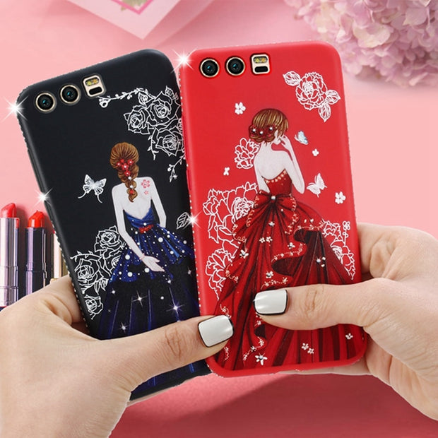 Case For Vivo X21 Screen Fingerprint Rhinestone Cover Ultra Slim Girl Back Printed Case For Vivo X21 Vivo X21ud Back Cover Capa