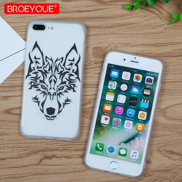 Case For IPhone 7 Plus 8 Plus Black Lace Cool Animal Transparent Soft Silicone Cover For IPhone 6 6S Plus 5 5S SE X Back Case