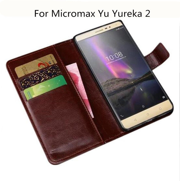 best service 7e626 ba287 Case Luxury Wallet PU Leather Case For Micromax Yu Yureka 2 Case Flip  Protective Phone Back Cover Bags