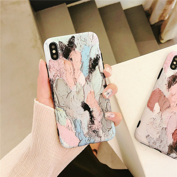 Cases For IPhone 7 Fashion Art Oil Painting Couples Matte Phone Case For IPhone X 6S 6 7 8 Plus Case Silicone Full Covers Capa