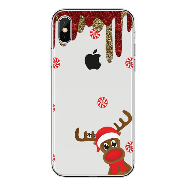 Christmas Case For IPhone 6 6s 7 8 X Mobile Phone Fitted Back Cover For IPhone 6 6s 7 8 Plus Soft Shell Protective Case Gift