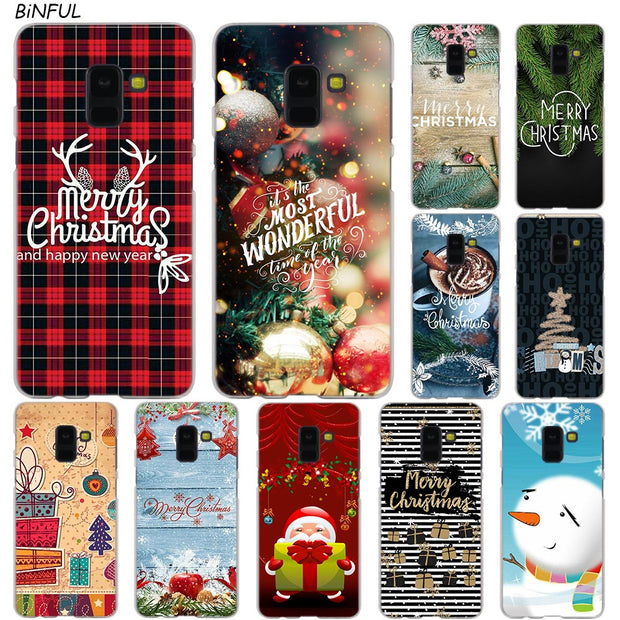 Christmas Series Hot Fashion Transparent Case For Samsung Galaxy A3 A5 A9 A7 A6 A8 Plus 2018 2017 2016 Star A6S Note 9 8 Cover