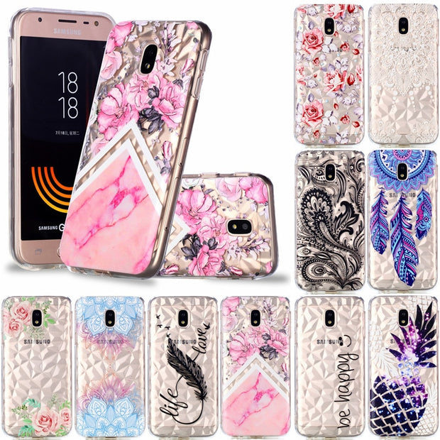 Classy Soft TPU Covers For Samsung Galaxy J530 J5 2017 European Edition Case Relief Diamond Stripes Designer Mobile Phone Shell