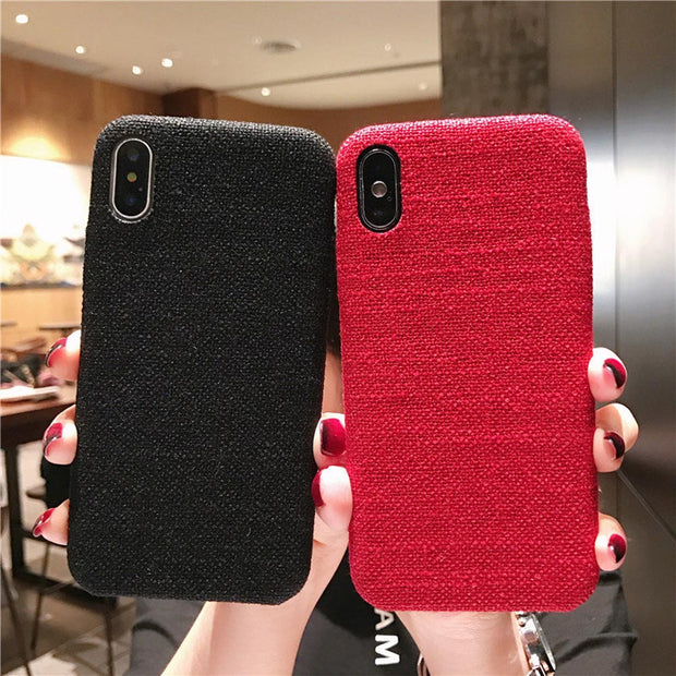 Cloth Texture Trendy TPU Back Cover For Iphone 7 Case Ultra-thin Canvas Silicone Plain Phone Cases For Iphone 6 6S 7 8 Plus X