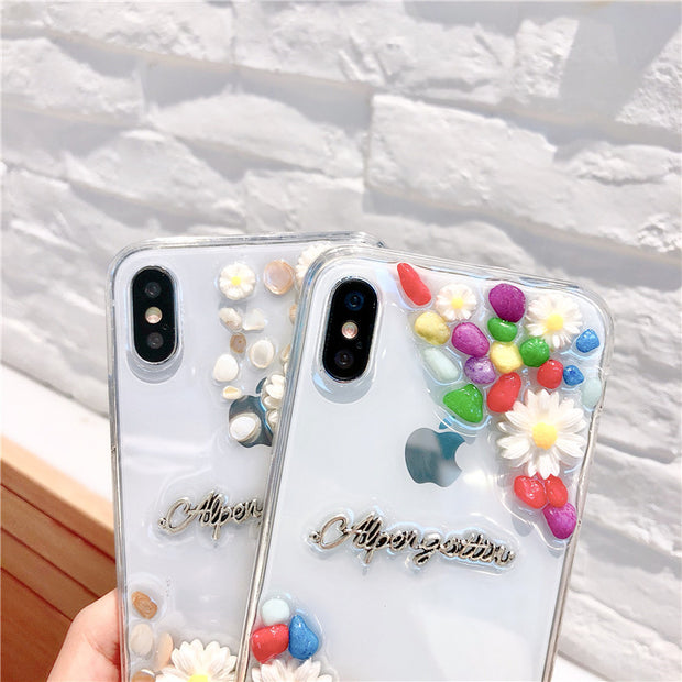 bea708a172 Colorful Rhinesone Daisy Decoration Phone Cases For Iphone 7 8 6 6S Plus X  7Plus Clear