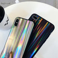 Cool Rainbow Shining Colorful Phone Case For IPhone 7 8 6 6S Plus Luxury Laser Cases For IPhone X Soft TPU Back Cover Coque Capa