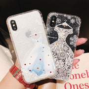 Coque For IPhone 8 Plus Case Luxury Glitter Rhinestone Lace Dress Phone Case For IPhone 7 6 6S 8 Plus IPhone X Case Cover Women