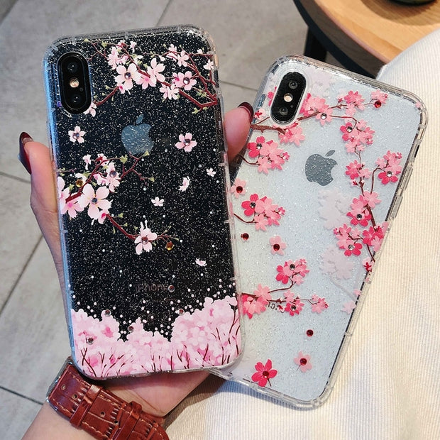 Coque For IPhone X Case Cherry Blossom Glitter Rhinestone Phone Case For IPhone 7 6 6S 8 Plus IPhone X Case Cover Carcasa Women