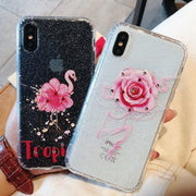 Coque For IPhone X Case Luxury Glitter Rhinestone Flamingo Flower Phone Case For IPhone 7 6 6S 8 Plus IPhone X Case Cover Women
