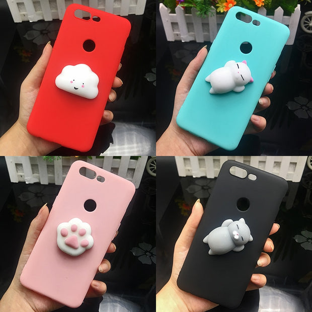 cheap for discount 8d0df b671a Cute 3d Squishy Cat Silicon TPU Soft Case For Oneplus 6 Candy Color Back  Cover One Plus 5T One Plus 5 T 1+5 1+5T 1+6 Phone Cases