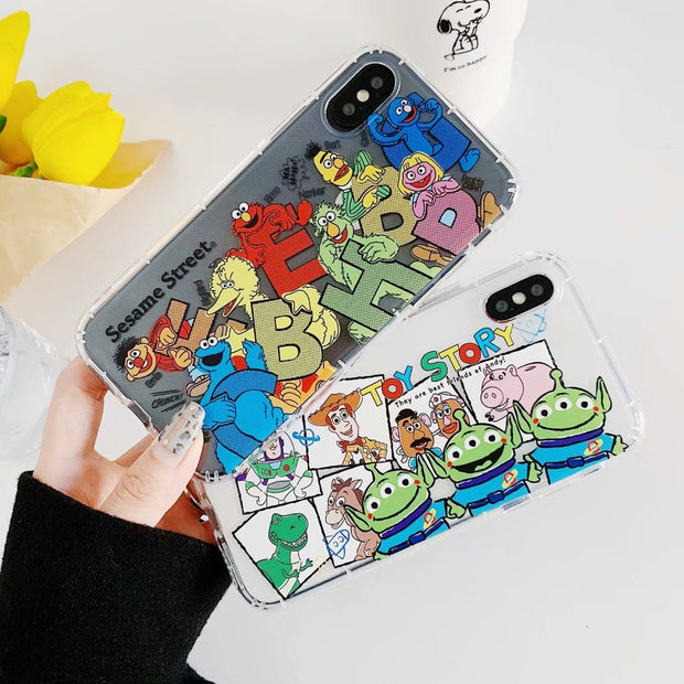 reputable site 6ac32 f9b3c Cute Cartoon Sesame Street Toy Story Soft TPU Case For IPhone XS XR XS MAX  Air Anti-knock Case For IPhone X 6 6S 7 8 Plus Case