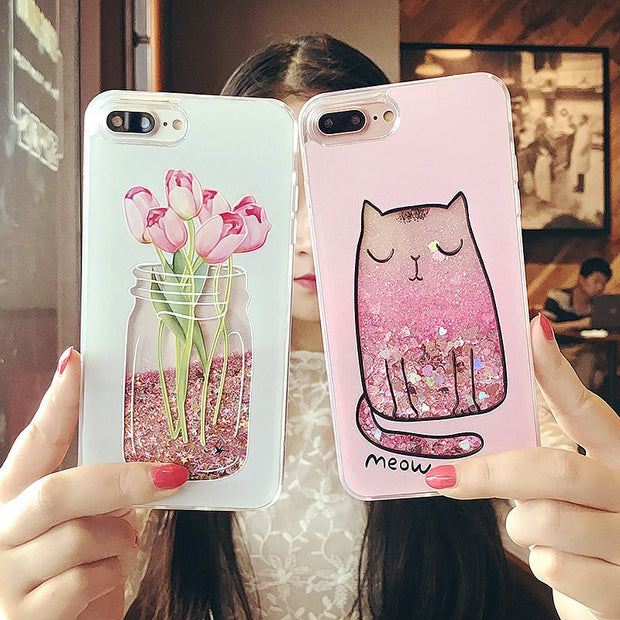 Cute Cat Beautiful Flower Bottle Glitter Soft Silicone Phone Case For IPhone 5 5s 6 6S Case For IPhone X 7 8 Pluse Case Cover