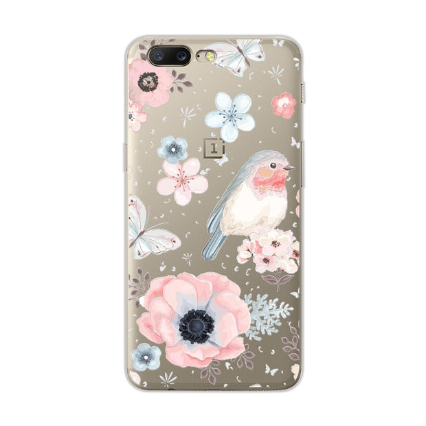 Cute Dog Case Fundas For One Plus 5 Soft TPU Flowers 3D Relief Lace Cover Capa For One Plus Five 1+5 1 Plus 5 A5000 Coque +Gift