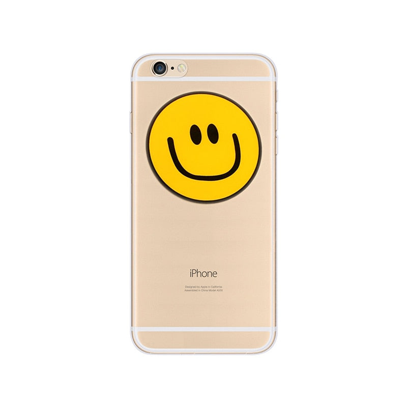 Cute Emoji Happy Yellow Smiley Face Soft Silicone Phone Case For IPhone 5  5S 6 6S 7 Plus Clear TPU Protective Back Cover