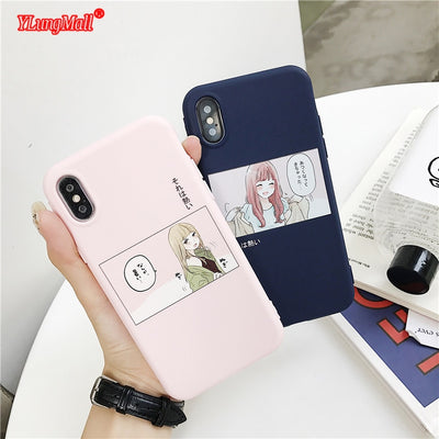 Cute Japan Korea Girl Pattern Phone Case For IPhone 6 6S 8 7 Plus XR X Soft TPU Full Protection Coque For IPhone XS Max