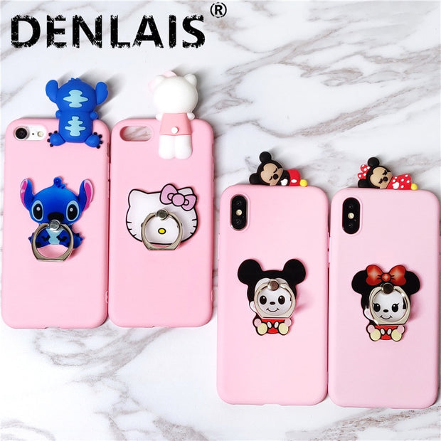 Cute Minnie Kitty Stitch Cartoon Case For Huawei P8 P9 Lite Case Grip Stand Holder Soft Phone Case For Huawei P10 P10lite Case