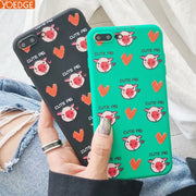 Cute Pig Cartoon Case For IPhone X 6S 7 8 Cases Love Heart Couples Back Cover For Iphone 6Plus 7Plus 8Plus Cases