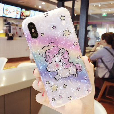 Cute Rainbow Unicorn Phone Case For IPhone XS MAX XR XS X 8 Plus 7 8 7 Plus 6 6s 6s Plus Soft TPU Cartoon Conch Shell Case Funda
