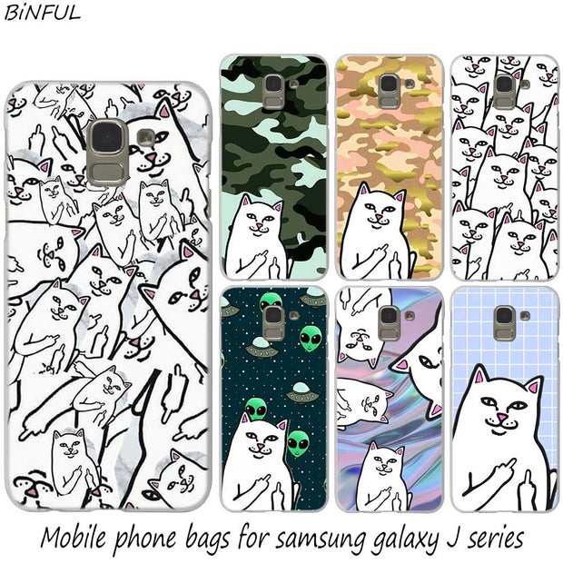 Cute Middle Finger Cat Design Fashion Hard Phone Cover Case For Samsung J2 J3 J5 J4 J6 J7 J8 2018 2016 J7 2017 EU J6 Prime Cover