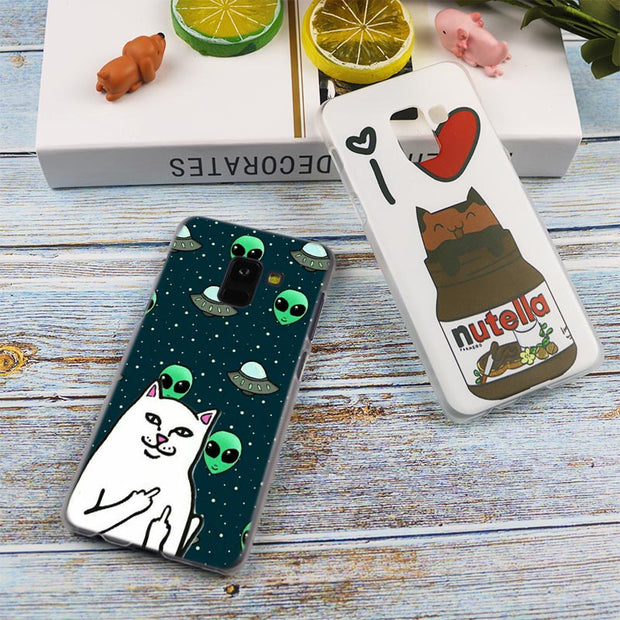 Cute Middle Finger Cat Design Transparent Case For Samsung Galaxy A3 A5 A9 A7 A6 A8 Plus 2018 2017 2016 Star A6S Note 9 8 Cover