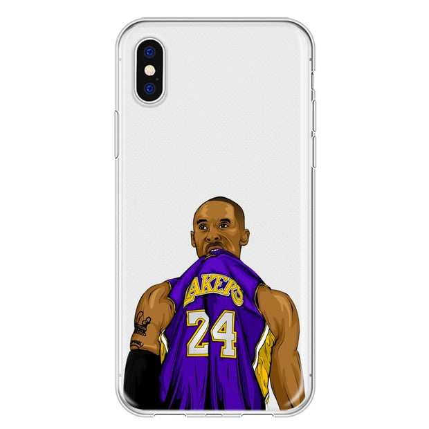 DIFFRBEAUTY NBA Basketball Player Kobe Bryant Bite Clothes Soft TPU Shell Phone Cases For IPhone X 5s Se 6s 7 8 Plus Coque