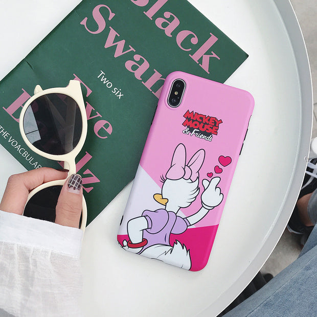 Daisy Minnie Back Cartoon Case For IPhone 6 6S 7 8 Plus Matte Frosted TPU Rubber Heart Case For IPhone XS MAX XR X S Back Cover