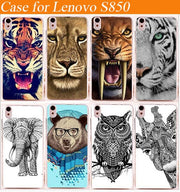 Diy Painting Colored Animals Cover Case FOR Lenovo S850 S850t / 10 Patterns Tiger Lion Bear Design Cover Case For Lenovo S850