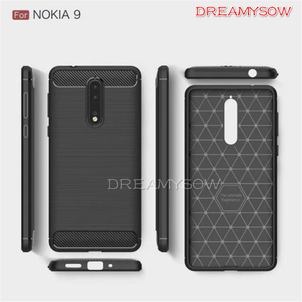 Durable Flexible Phone Case For Nokia 6X 2018 7Plus 6 2018 9 8 7 5 3 2 For Nokia 5.1 3.1 2.1 Anti-Scratch 3D Carbon Fiber Case
