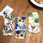 EKDME Flower Leaf Print Phone Case For IPhone X 8 7 6 6s Plus Hard PC Cover Slim Cases For IPhone 7 8 Pattern Retro Flower Coque