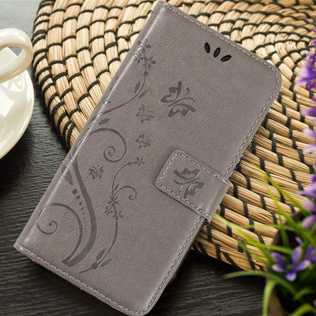 Embossed Butterfly Patterned PU Leather Magnetic Flip Case Cover For Samsung Galaxy A6 J4 J6 2018 Card Hold Capa For S9 S8 Plus