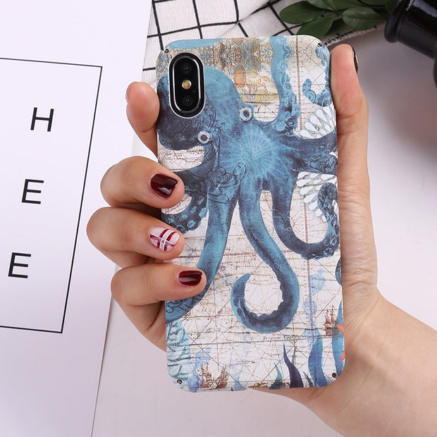 Exhard Animal Tortoise Seahorse Octopus Luminous Hard PC Case For IPhone X 8 8 Plus 7 7 Plus 6 6s Plus Cover Back Coque Capa