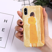 Exhard Artistic Painted Couple Luminous PC Case For IPhone X 8 8 Plus 7 7 Plus 6 6s Plus Yellow Boy Girl Back View Back Cover