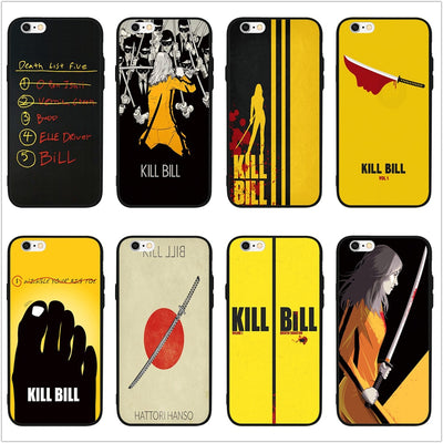 FATPERSON Kill Bill Movie Drawing Black Cover Phone Case For IPhone 8 7 6 6S Plus X 10 5 5S SE 7plus 8Plus Coque Shell
