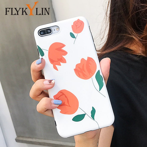 best sneakers 0e4d4 b61e3 FLYKYLIN Unique Tulip Phone Case For Iphone 7 Case For Iphone X 6 S 8 Plus  Retro Cartoon Flowers Cover Soft Matte IMD Cases Capa
