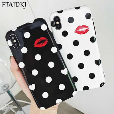 FTAIDKJ Sexy Red Lips Glossy IMD Phone Case For IPhone X Retro White Black Wave Point Back Cover For IPhone 6 6S 7 8 Plus Fundas